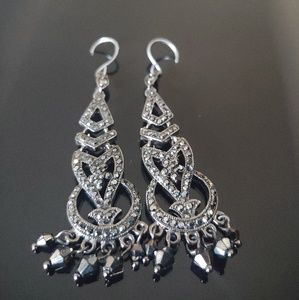 Monet Chandelier Earrings Black & Silver